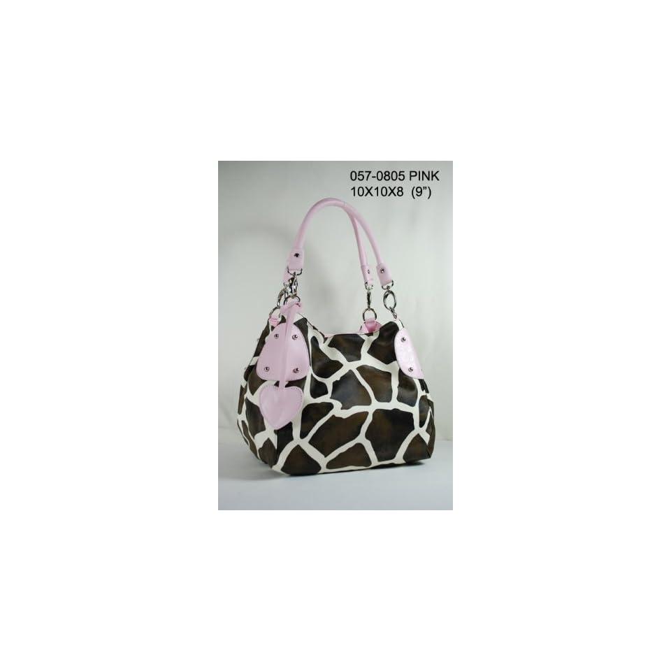 Women Handbags Purses Giraffe Print Faux Leather Hobo Tote Bag Pink Trim