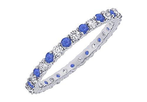 Sapphire and Diamond Eternity Bangle Platinum 10.00 CT TGW