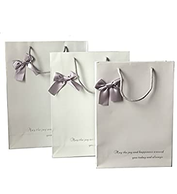 PaperStory-Premier Paper Gift Bag. Set of 3. With Lovely Ribbon Bow. 15.7/14/11.8-Inch.