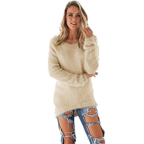 Donna sportiva Solid maniche lunghe Jumper Maglioni Camicia (S, Beige)