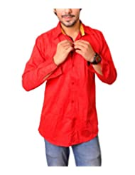 Nation Polo Club Men's 100% Cotton Lycra Coduroy Pattern Slim Fit Casual Red Color Shirt
