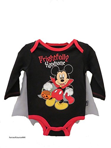 [Disney Mickey Mouse Frightfully Handsome Halloween Baby Boys' Bodysuit Outfit (0-3 Months)] (Doll Outfits Halloween)