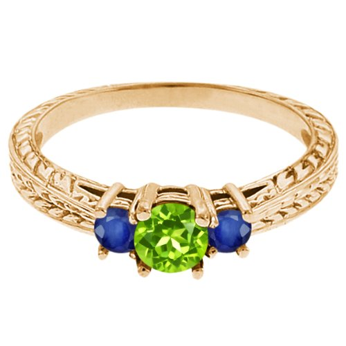 0.56 Ct Round Green Peridot Blue Sapphire 14K Yellow Gold 3-Stone Ring