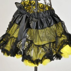 Youth Child Reversible Satin And Chiffon Pettiskirt Tutu (2T-4T, Black Yellow) front-937199