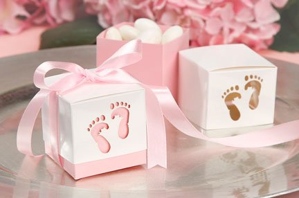 Pink Baby Shower Box Kit for Baby Girl with Baby Feet Cut Out. Makes 12 Boxes - Includes Pink Satin Ribbon Ties