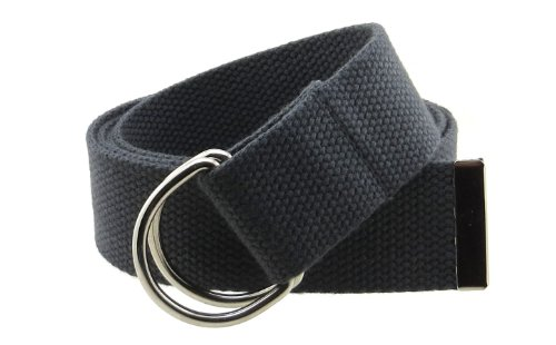 "Canvas Web Belt Double D-Ring Buckle 1.5"" Wide with Metal Tip Solid Color (Charcoal M)"