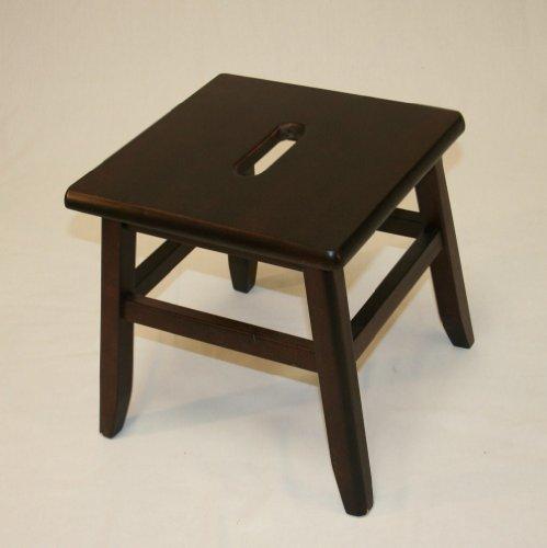 Set of 2 Hardwood Footstools in Espresso Finish