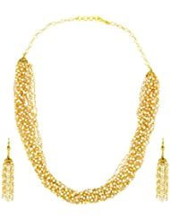 The Jewelbox Multi Strand Layered Pearl 22K Gold Plated Necklace Earring Set For Women
