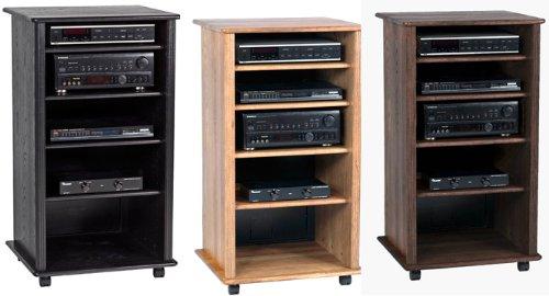 Wood Technology Solid Hardwood Audio Rack Cabinet In Black Ebony Finish  Reviews