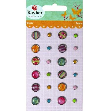 RAYHER - 7936000 - Tachuelas: Summer, varios diseños, {2} gr., diámetro 0.5-1cm, una tarjeta de 24 pcs, SB-diseño. 1 tarjeta