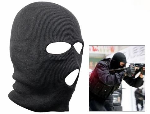 WMA Black Balaclava SAS Style 3 Hole Mask Neck