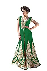 BanoRani Womens Green Color Faux Georgette Embroidery Full Length Anarkali Gown Style Semi Stitched Salwar Suit (Pant Style)
