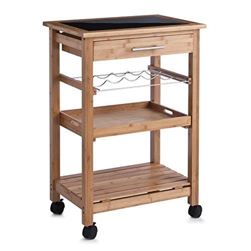 zeller-13778-carrellino-da-cucina-in-bambu-con-parte-superiore-in-vetro-58x40x85-cm