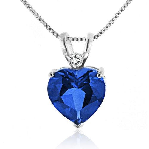 7.50 Carat Blue & White Sapphire Heart Pendant in Sterling Silver with Chain
