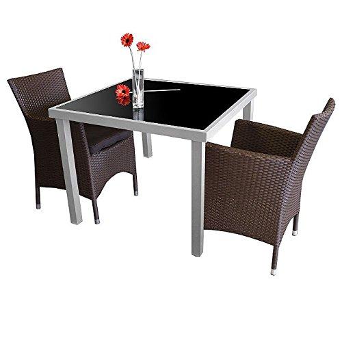 3tlg. Gartengarnitur Glastisch 90x90cm + 2x Sessel mit Sitzkissen Braun - Gartenmöbel Bistromöbel Terrassenmöbel Sitzgruppe Sitzgarnitur