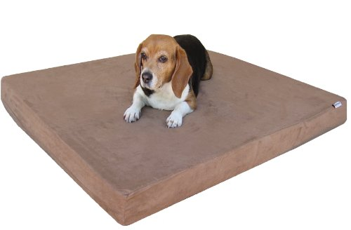 "Large Waterproof Orthopedic Memory Foam Pet Dog Bed With Washable Brown Suede Cover + Bonus Case, Fit 42""X28"" Crate"