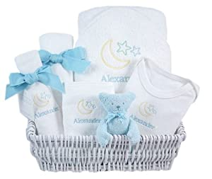 blue lullaby - personalized luxury layette basket