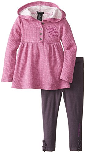 Calvin Klein Little Girls' Printed Burnout Hooded Tunic Set, Purple/Assorted, 5 front-465892