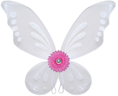 White Pink Gerbera Flower Butterfly Wings Girls Fairy Princess Birthday Costume front-961710