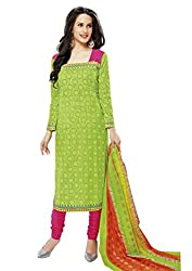 RK Fashion Womens Cotton Un-Stitched Salwar Suit Dupatta Material ( Rajguru-Ganpati-5004-Green-Free Size )