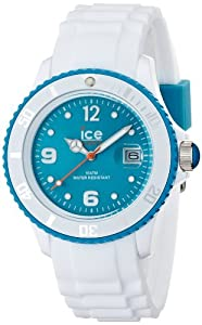 Ice-Watch - SI.WT.U.S.11 - White - Montre Mixte - Quartz Analogique - Cadran Turquoise - Bracelet Silicone Blanc par Ice-Watch