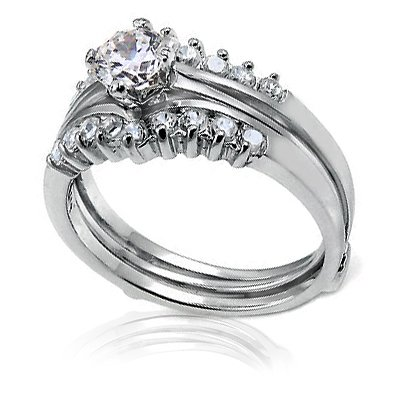 Bling Jewelry Classic Sterling Silver 6mm Round CZ Guard Engagement Wedding Ring Set