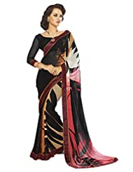 AG Lifestyle Black Georgette Saree With Unstitched Blouse SNS221A