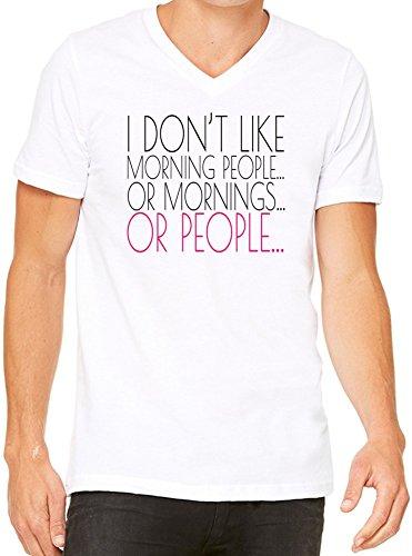 I Don't Like Morning People Slogan T-Shirt V-Collo Donne XX-Large