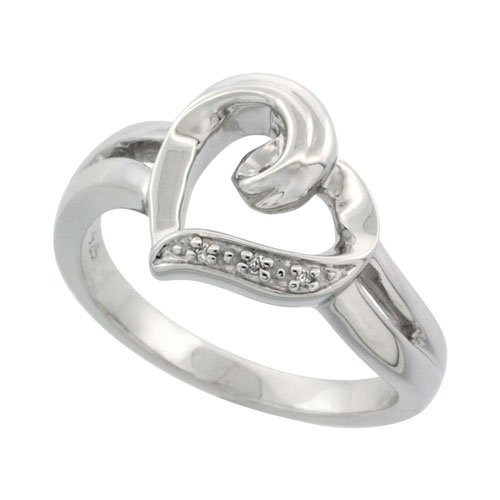 Sterling Silver Heart Diamond Ring 0.01 cttw 7/16 inch (11 mm) wide, size 5.5
