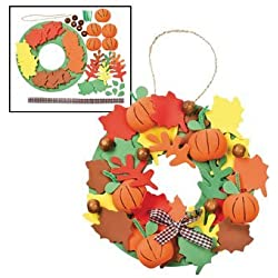 3D Pumpkin Wreath Craft Kit - Crafts for Kids & Decoration Crafts (12 Kits)