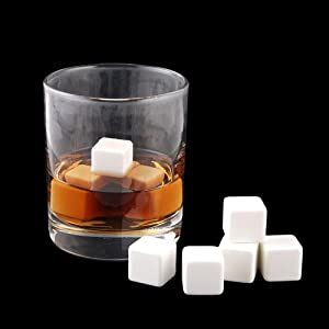 Pinnacle-9X Whiskey Whisky Scotch Soapstone Cold Glacier Stone Ice Cube Rocks with Bag, Color: Ceramics