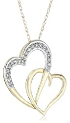 10k Yellow Gold Diamond Double Heart Pendant Necklace (1/10 cttw, I-J Color, I1-I2 Clarity), 18""