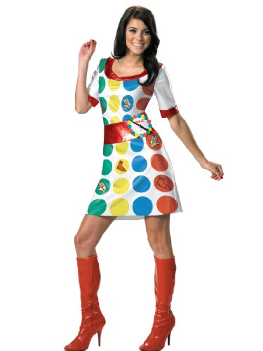 70s Twister Costume Dress with Spinner Easy Sexy Womens Theatrical Costume