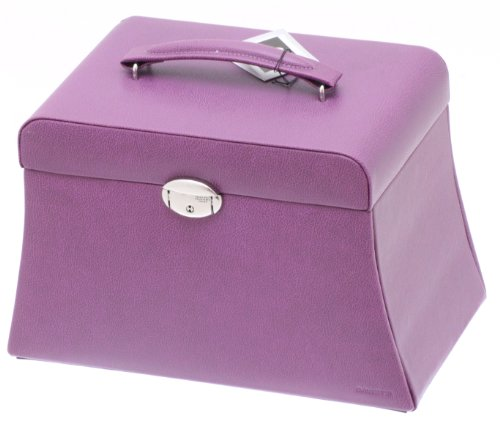 Davidt's Euclide Large Synthetic Jewel Box with Side Drawers in Purple
