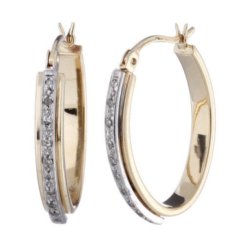 Diamond Hoop Earrings In Sterling Silver With 14K Yellow Gold Plating 1 Inch