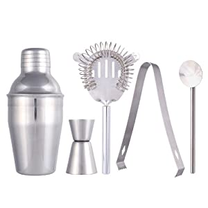 SainStyle Stainless Steel Cocktail Martini Shaker Drink Mixer Jigger Bar 5-Piece Sets (350ml)