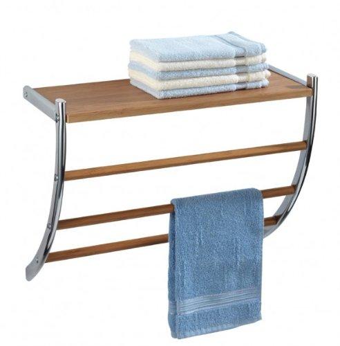 handtuchhalter ausverkauf wenko wandregal bamboo 56 x 46 x 21 5 cm bambus optik chrom. Black Bedroom Furniture Sets. Home Design Ideas