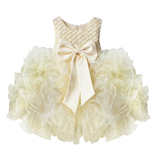 TIAOBU Baby Girls Flower Wedding Pageant Princess Bowknot Communion Party Dress Beige 18-24 Months