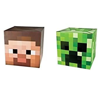 """Official Minecraft 12"""" Steve & Creeper Exclusive Head Costume Mask Set of 2 from MOJANG"""