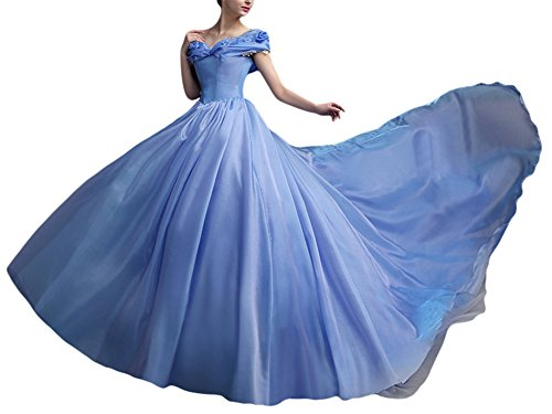 Dobelove Women's Organza Cinderella Costume Prom Dress Long Quinceanera Ball Gowns (Adult Cinderella Dress)