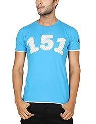 Paani Puri Men's Round Neck Cotton T-Shirt (Sea Blue)