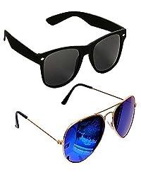 Shara UV Protected wayfarer and Aviator unisex sunglasses set of 2 combo pack ( Black & Blue lens)