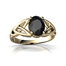 buy 14Kt Yellow Gold Black Onyx 8X6Mm Oval Celtic Trinity Knot Ring - Size 6.5