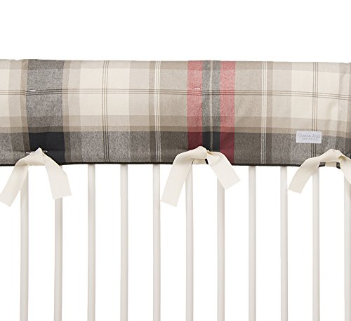 Glenna Jean Fly-By Crib Rail Protector, Taupe/Grey/Blue/Brown/Red, Long Plaid
