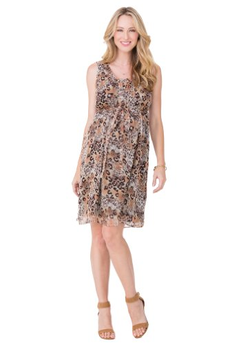 Ingrid & Isabel Leopard Print Chiffon Maternity Dress - Leopard Print - Small front-404676
