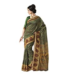 Anvi Creations Green Bhagalpuri Cotton Silk Saree (Green_Free Size)