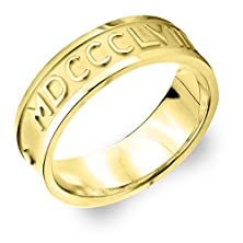 buy 18K Yellow Gold Men'S Roman Numeral Ring Customized With Your Date Size 10.5