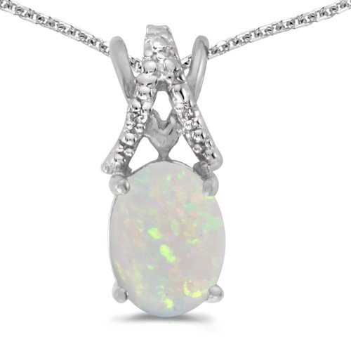 14k White Gold Oval October Birthstone Opal And Diamond Pendant