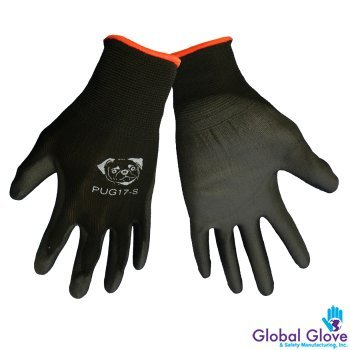 Global PUG Work Glove PUG17L Polyurethane/Nylon Glove, Work, Large, Black, (12 PAIR) (Gorilla Gloves)