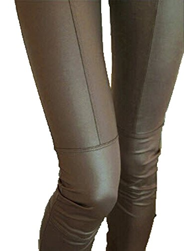 Faux Leather Leggings For Women Lady Leggins Pants, Brown Color, Size M